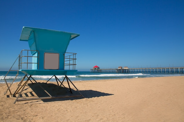 Huntington beach pier surf city usa with lifeguard tower