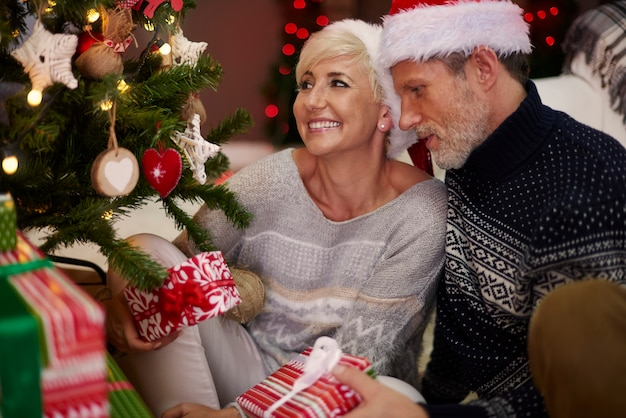 クリスマスツリーの横にある夫と妻