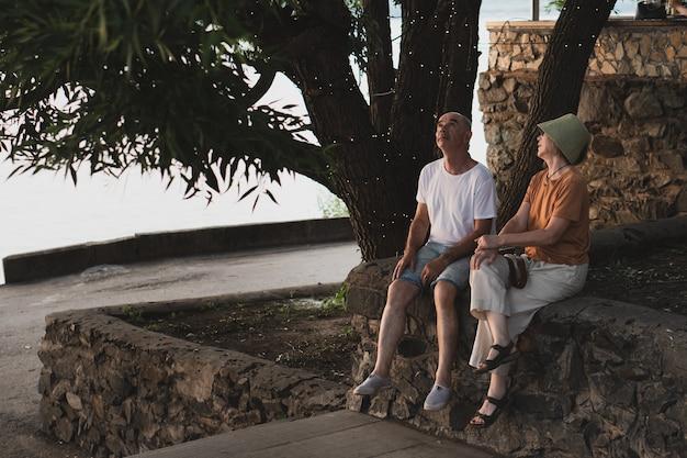 都市公園の大きなおとぎ話の木の下に座っている夫と妻全身ショット