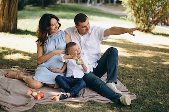 Husband with pregnant wife and their son having picnic in park