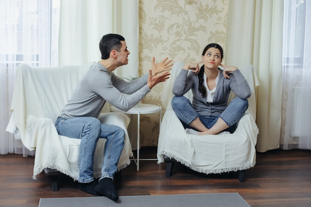 Husband yells at wife, woman doesn't want to listen to him