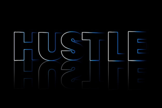 Hustle shadow style typography on black background
