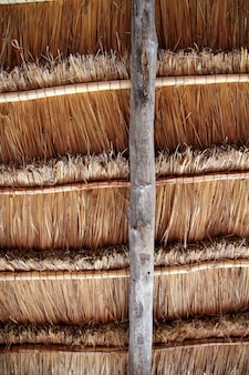 Hut palapa traditional sun roof wiev from above
