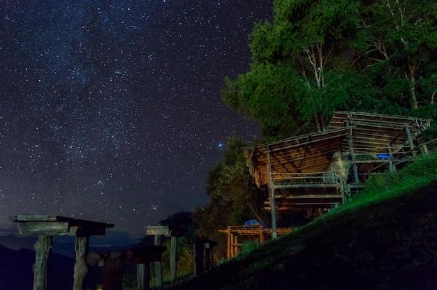 Huts and stars at night.