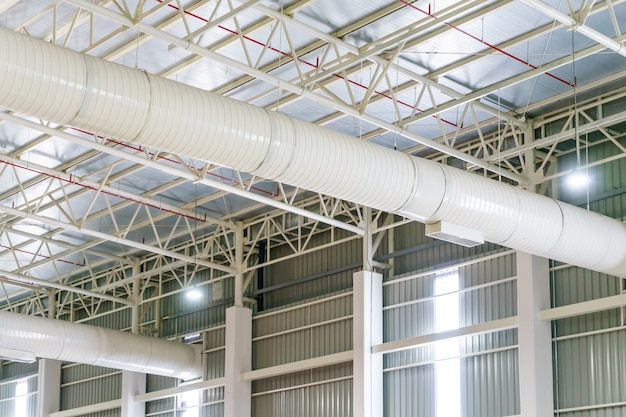 Hvac duct air conditioner ventilation pipes system in white insulation material