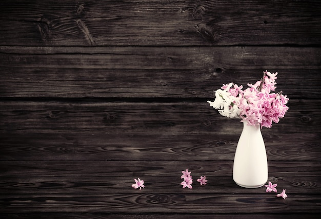 Hyacinth in white vase on dark old wooden background