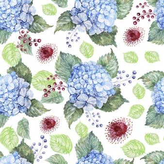 あじさい青い花水彩手描きプリントテキスタイル