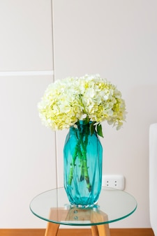 Hydrangea flower arrangement in a nice living room