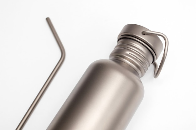 Hydration bottle and reusable stainless steel straws. zero waste concept.