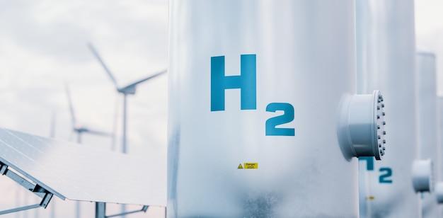 배경에 태양 전지 패널과 풍력 터빈이 있는 수소 에너지 저장 가스 탱크. 3d 렌더링.