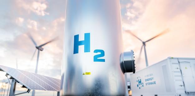 백그라운드에서 태양 전지 패널, 풍력 터빈 및 에너지 저장 컨테이너 장치가 있는 수소 에너지 저장 가스 탱크. 3d 렌더링.