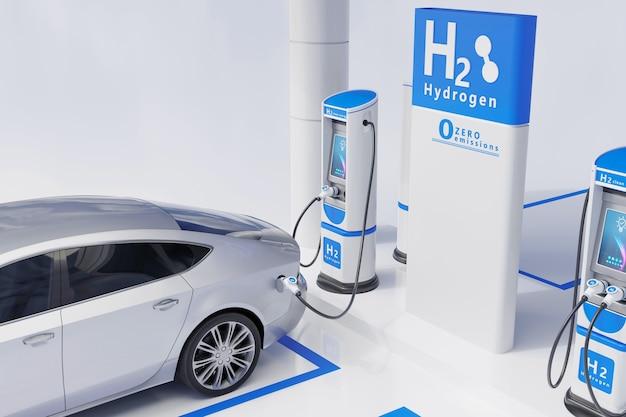 Автомобильная зарядная станция на водородном топливе белого цвета визуальная концепция дизайна