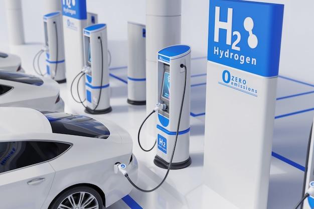 수소 연료 자동차 충전소 화이트 컬러 시각적 컨셉 디자인