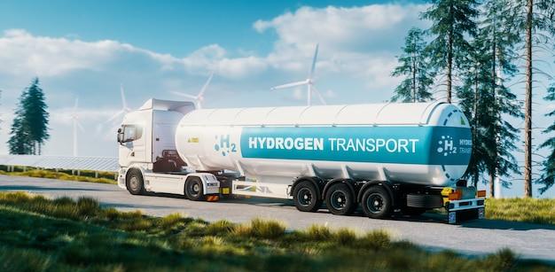 수소 가스 운송 개념입니다. 배경에 태양 전지 패널과 풍력 터빈이 있는 신선한 자연에서 가스 탱크 트레일러가 있는 트럭. 3d 렌더링.