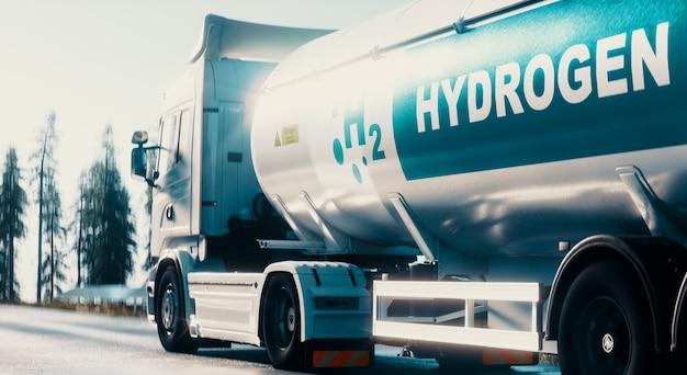 도로 3d 렌더링에 가스 탱크 트레일러가 있는 수소 물류 개념 트럭