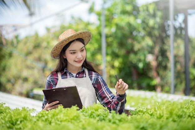 水耕栽培野菜畑。アジアの女性は、水耕栽培の有機野菜プロットに関する研究を分析および研究しています