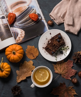 Hygge tea cozy home autumn brownie  flat lay top view