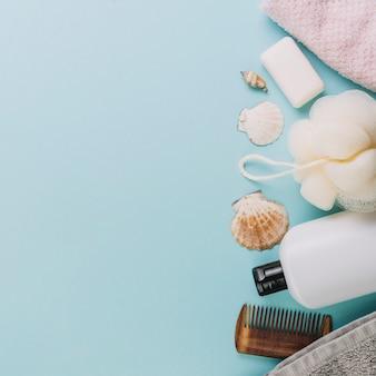 Hygiene supplies on blue background