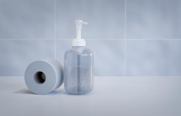 화장지 롤과 살균 소독 젤의 위생 세트,