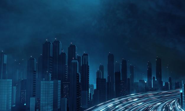 メガシティの建物のライトからぼかしライトを備えたハイパーループ