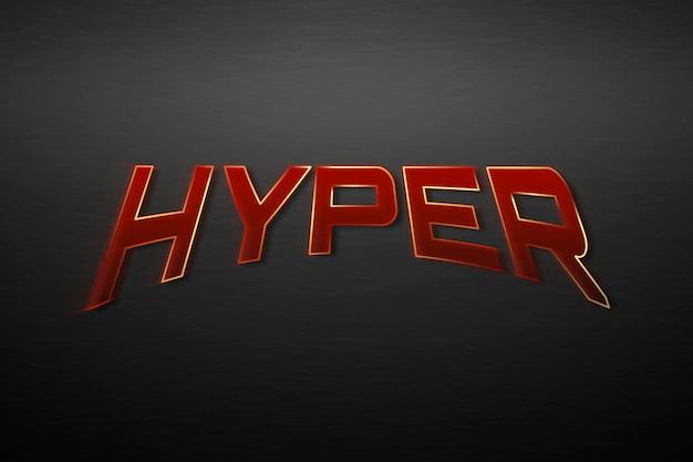 Iper testo nell'illustrazione di tipografia del supereroe rosso