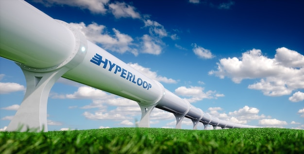 Транспортная концепция hyperloop. футуристическая транспортная техника в свежей весенней природе. 3d-рендеринг.