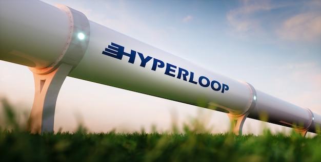 Транспортная концепция hyperloop. футуристическая транспортная техника в утренней природе. 3d-рендеринг.