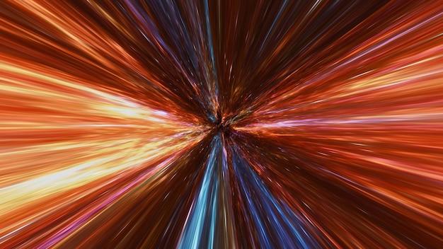 Гиперпространственное размытие движения через вселенную, движущееся со скоростью светового туннеля галактики, абстрактный цветной фон гипер-прыжок