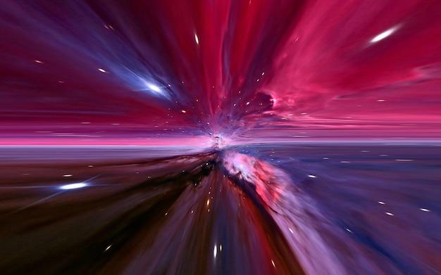 ハイパースペースモーションは宇宙をぼやけ、光速トンネル銀河の速度で移動し、ハイパージャンプの抽象的な色の背景