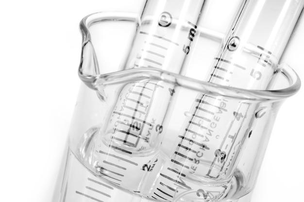 Hypodermic syringe on white background