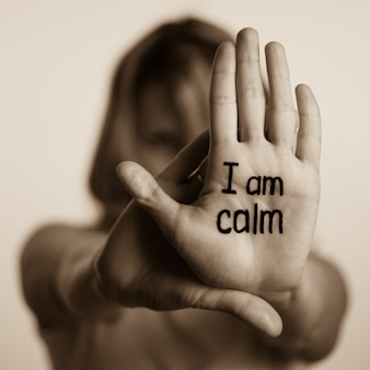 I am calm on the palm of hand