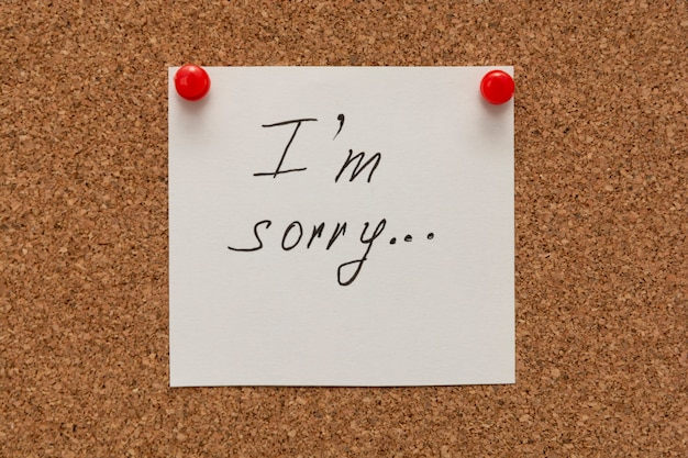 I am sorry inscription text written on white paper pined on cork board