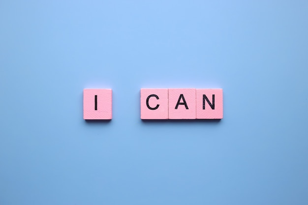I can, on a blue background