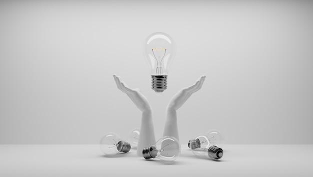アイデアがあり、それを守りたい。アイデアの特許を取得します。ユーレカ、私には考えがあります。アイデアに関連する電球のシンボル。電球が点灯しました。白色の背景。
