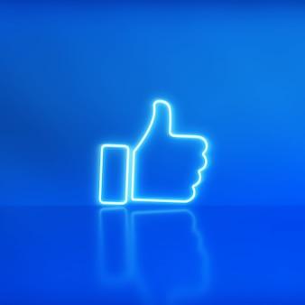 Мне нравится неоновая иконка на синем фоне с местом для текста. концепция социальных сетей.