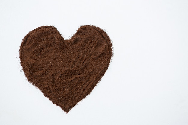 I love coffee. coffee powder forming heart shape