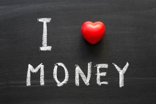 学校の黒板に手書きのお金のフレーズが大好き