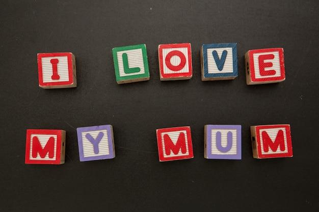 나는 블록에서 엄마의 메시지를 사랑
