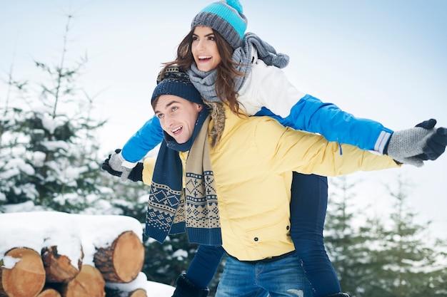 Adoro giocare con lui durante l'inverno