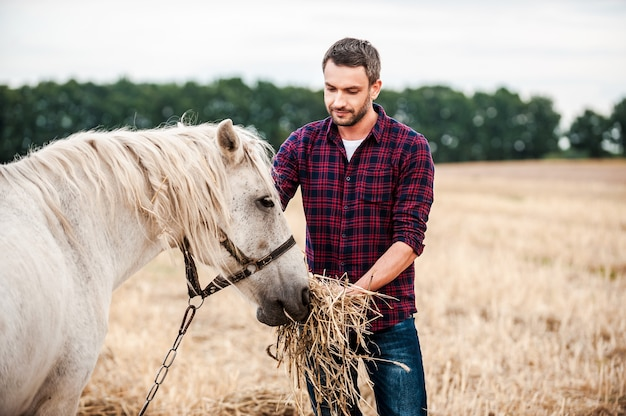 私はこの馬が大好きです!フィールドに立っている間馬に餌をやる若い農夫の側面図