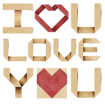I love you alphabet and red heart recycled papercraft.