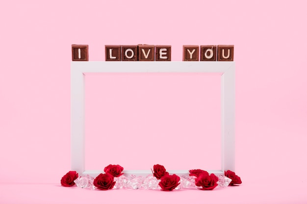 I love you inscription on brown blocks
