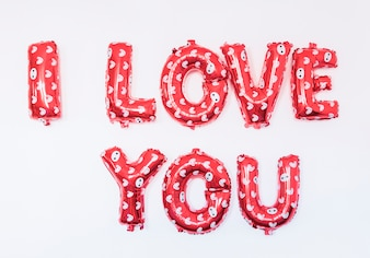 I love you inscription from balloons