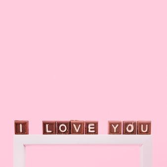 I love you inscription on small brown blocks