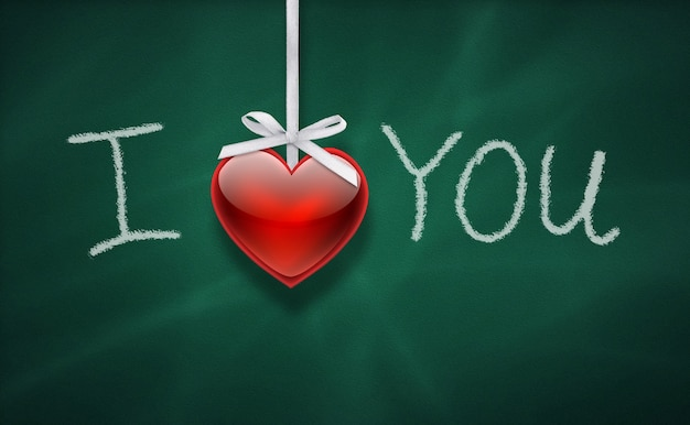 I love you  message on a chalkboard