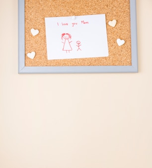 I love you mom inscription with drawing