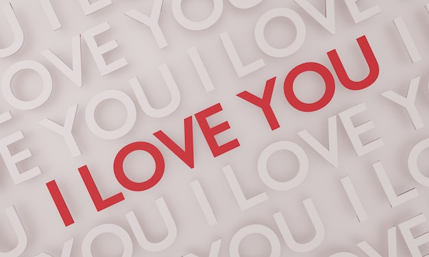 I love you, red text pop up on white wall background