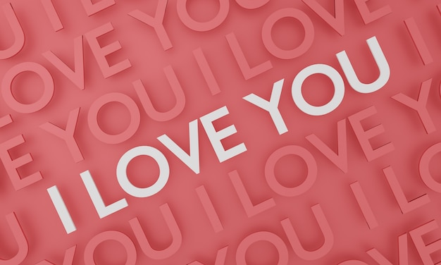 I love you, text pop up on red wall background