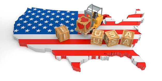 I love you usa wooden block text of usa flag map. 3d rendering