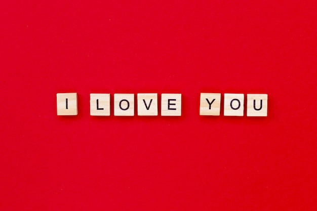 I love you with wooden letters for valentines day